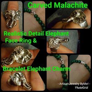 MalachiteCuff+RingSet Elephant Charm Detailed Ring